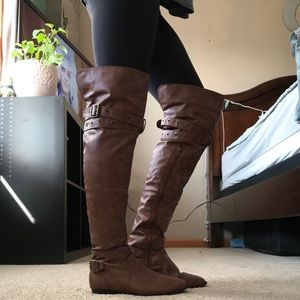 Shoes - Thigh high brown boots